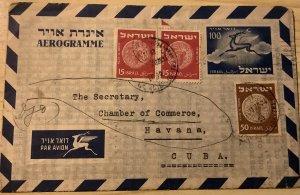 ISRAEL 1954. AEROGRAME From Tel Aviv to Havana (Cuba). SG # 43 (2) & #49