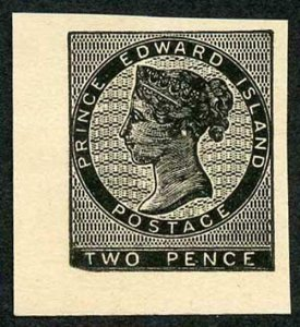 Prince Edward Island 2d reprint plate proof in Black on thick paper