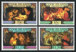 Cook Isl 1050-1053,1054,MNH.Mi 1324-1327,Bl.203. Christmas 1991.Paintings.