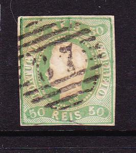 PORTUGAL 1866 50r YELLOW GREEN IMPERF  FU Sc 21