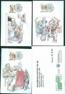 Liechtenstein. Maximum Card. # 99. 1990. Complete Set 3 Diff. Winter Traditions.