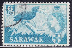 Sarawak 200 USED 1955 Hornbill