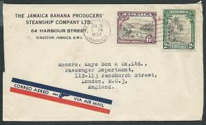 JAMAICA 1937 8d airmail rate cover to UK...................................42846