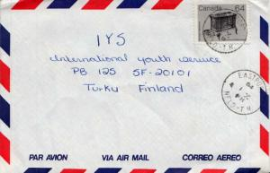 Canada 64c Wood Stove Artifacts 1984 Eastport, Nfld.-T.N. Airmail to Turku, F...