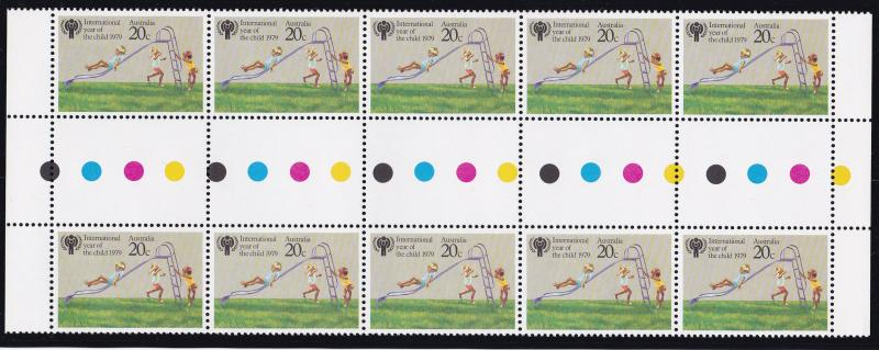 Australia 1979 IYC Year of the Child Traffic Light Gutter Pair Strip   VF/NH
