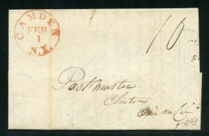 UNITED STATES 1843 RED CAMDEN NY CANCEL   STAMPLESS  COVER  LEGAL LETTER