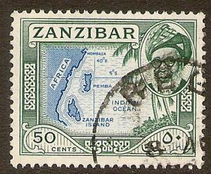 Zanzibar Scott # 257 used.