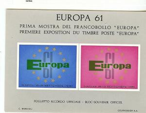Italy, N/L Scott, Europa 61 Special IMPERF,S/S (2), MNH