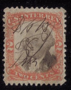Rare US Scott #R135a (Error) 2c Vermilion & Black VarietyCenter Shifted R VF