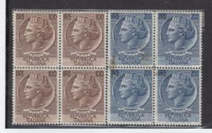 ITALY #s 661-662 VF-MNH # 688a VF-MNH BLOCKS 4 CAT VALUE $71(Stain on back of 1)