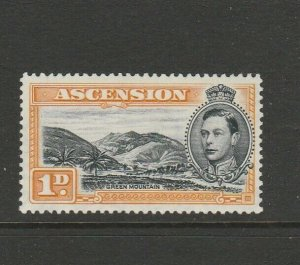 Ascension 1938/53 GV1 Defs 1d Black/Yellow Orange P13.5 MM SG 39a