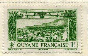 FRENCH GUIANA;  1933 early Air Post issue fine Mint hinged value 1Fr.