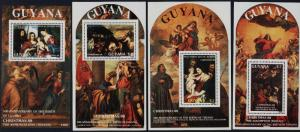 Guyana 1991a-b,1992a-b s/s MNH Christmas, Art, Paintings