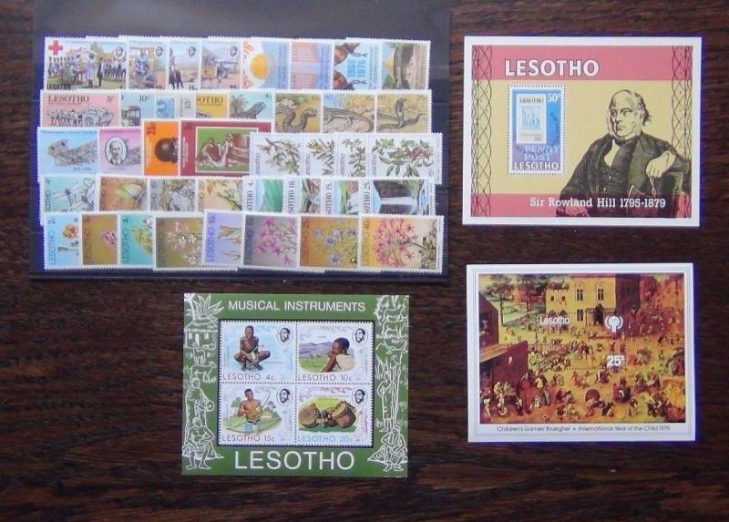 Lesotho 1972 1979 sets M/S Reptiles Trees Flowers Waterfalls Insects Red X MNH