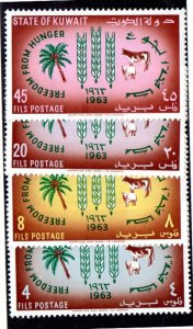 KUWAIT 193-196 MH SCV $4.50 BIN $1.80 FREEDOM FROM HUNGER