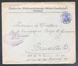 Germany REICH 1937 Postal History Rare Cover MILITARY censorship Bruxelles D.602