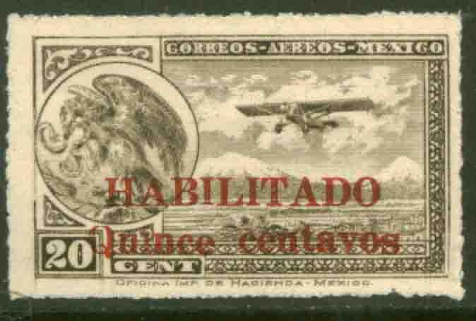 MEXICO C39, 15c on 20c Early Air Mail Habilitado surcharge. MINT, NH. F-VF.