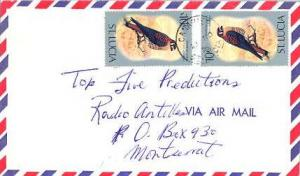 Saint Lucia 10c American Kestrel (2) 1976 Canaries, St. Lucia Airmail to Mont...