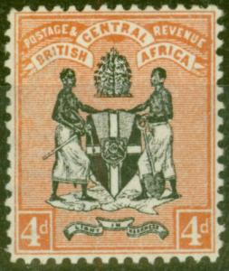 B.C.A Nyasaland 1896 4d Black & Orange-Brown SG34 V.F Very Lightly Mtd Mint