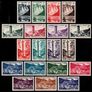 ✔️ FRENCH ANDORRA 1955 - LANDSCAPES TOP SET - SC. 124/142 MNH OG ** [TS002]