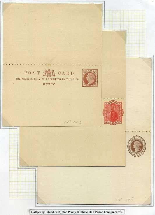 1890 Postal Stationery Reply Postcards ½d Inland, 1d & 1½d Foreign