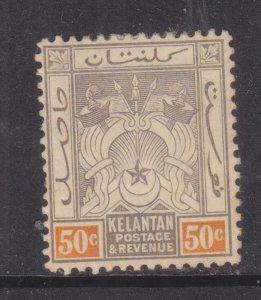KELANTAN, 1911 Arms, Mult. CA. 50c. Black & Orange, lhm.