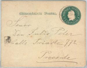 72203 - ARGENTINA - POSTAL HISTORY - STATIONERY COVER  1900 - Memorandum Postal
