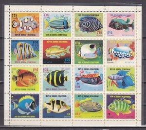Equatorial Guinea, Mi cat. 688-703. Various Fish sheet of 16. ^
