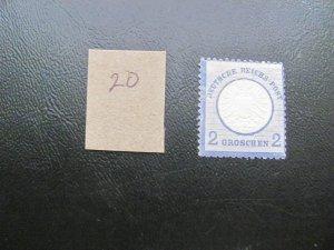 GERMANY 1872 HINGED MI.NR. 20 LARGE SHIELD SINGLE