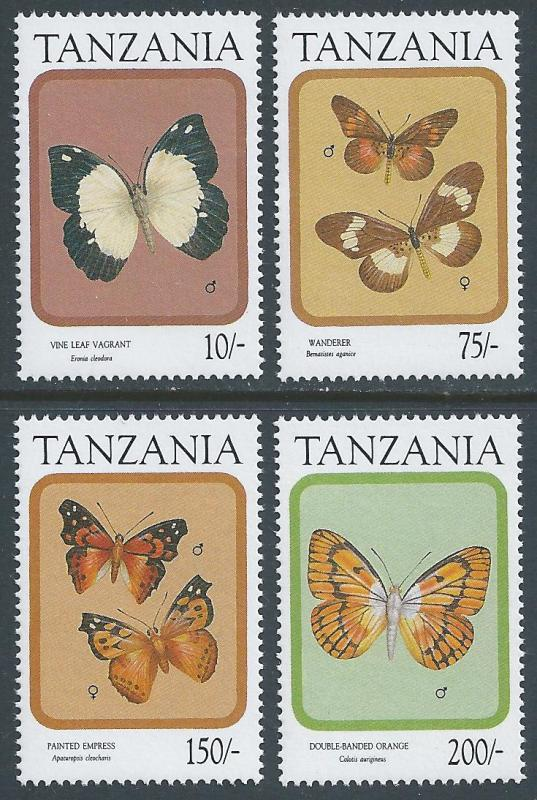 Tanzania #727,30,32-3 NH Butterflies Part 2