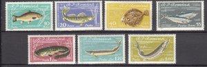 J27575 1960 romania set mh #1388-94 fish sports