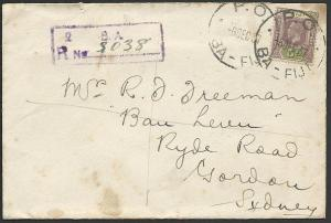 FIJI 1937 GV 5d on registered cover PO BA cds to Australia.................47205