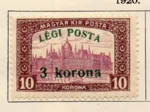 Hungary 1920 Early Issue Fine Mint Hinged 3kr. Surcharged 104182