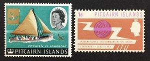 Pitcairn Islands 1964-5 #39 & 52, Queen Elizabeth II & ITU, Unused/MH.