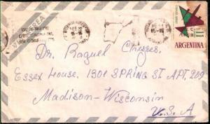 AARG-327 ARGENTINA 1962 AIR MAIL LETTER BSAS-USA 11 ps METER CANCELATION