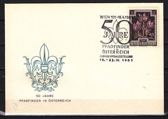 Austria, 16/APR/61. Scouting 50th Anniversary cancel on a Cachet cover.
