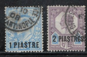 Great Britain Offices Turkish Empire 1906 Surcharges Scott # 13 - 14 Used