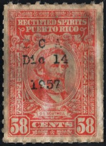 Puerto Rico #RE48 58¢ Rectified Spirits (1942) Used
