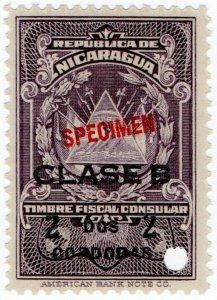 (I.B) Nicaragua Revenue : Consular Service 2C (ABN Specimen)