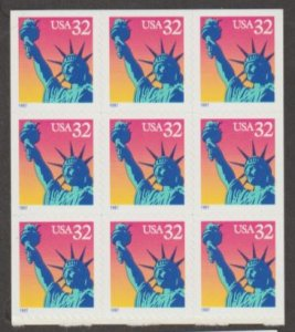 U.S. Scott #3122a Statue of Liberty Booklet Stamps - Mint NH Block of 9