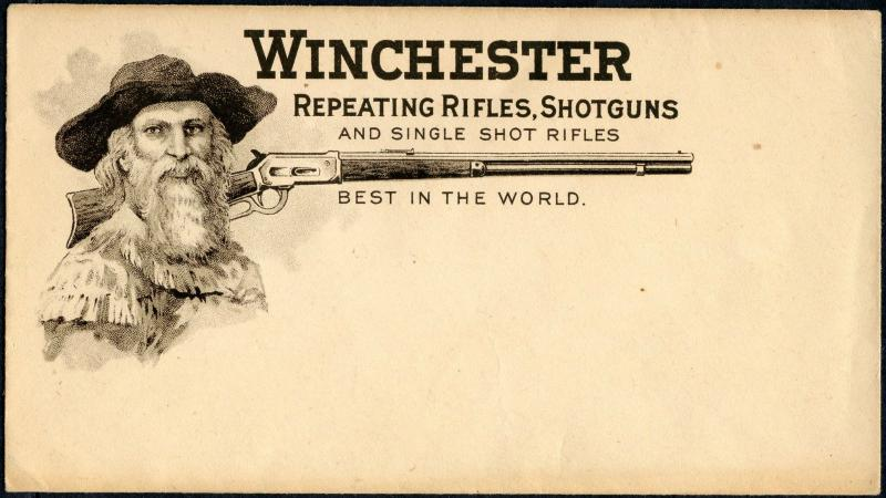 WINCHESTER RIFLES GUN COVER. UNUSED XF ADVT COVER SLIGHTLY TONED BP2442 SR17A