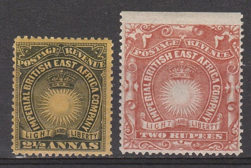 BRITISH EAST AFRICA 1890 LIGHT AND LIBERTY 21/2A AND 2R