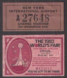 18 pieces of ephemera inc tickets, tags, ASDA, 1982 Worlds Fair, Baltimore Colts