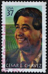 SC#3781 37¢ Cesar E. Chavez Single (2003) Used