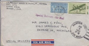 1945, Lowry Field, Denver,CO to Detroit, MI, See Remark (M4774)
