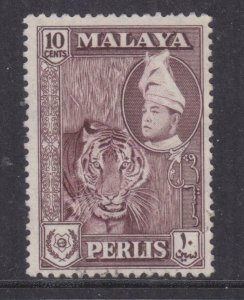 PERLIS, MALAYSIA, 1961 10c. Deep Maroon, mint no gum.