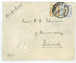 South Africa TRANSVAAL Pretoria SWITZERLAND Zurich 1904 {samwells-covers} CW223