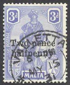 Malta Sc# 115 Used 1925 2 1/2p on 3p Overprint