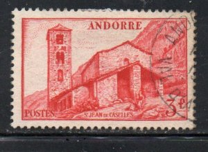 Andorra (Fr) Sc 115 1951 3 fr red St Jean de Caselles stamp used