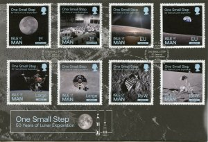 Isle of Man IOM 2019 FDC One Small Step Moon Landing 8v Set Cover Space Stamps